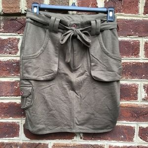 Brown Kersh Skirt with Functional Pockets & Tie Wa